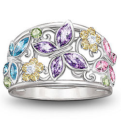 Spring Radiance Butterfly and Flower Cubic Zirconia Ring