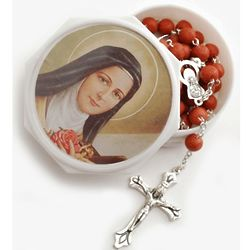 Rose Petal Rosary in St. Therese of Lisieux Box