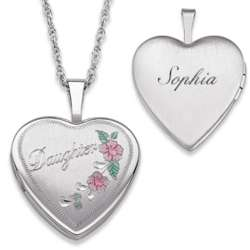 Sterling Silver Engraved Daughter Heart Locket Necklace