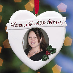 Forever in Our Hearts Memorial Photo Frame Ornament