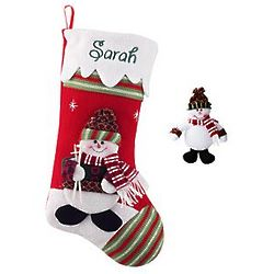 Personalized Winter Wonderland Snowman Stocking and Ornament