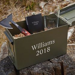 Personalized Ammo Can with Flask, Pint Glass and Hatchet Gift Set