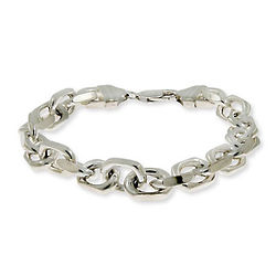 Men's Italian Sterling Silver Linked Anchor Chain Bracelet