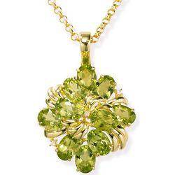 14k Gold Large Peridot Pendant with Diamonds