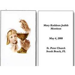 Personalized Girl Receiving First Communion Holy Cards