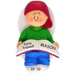 """Potty Trained"" Little Boy Personalized Christmas Ornament"