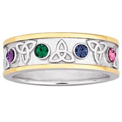 Sterling Silver Two-Tone Family Birthstone Trinity Knot Ring