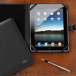 Personalized Black Leather iPad Case