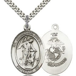 Sterling Silver Guardian Angel / US Marines Insignia Pendant