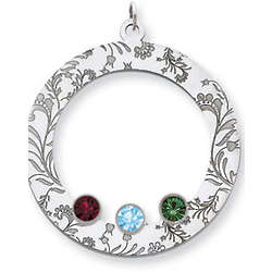 Sterling Silver Floral Circle Family Pendant with 3 Stones