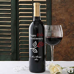 Personalized Anniversary Rose Wine Bottle