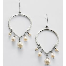 White Pearl Chandelier Earrings