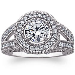 Vintage-Inspired Cubic Zirconia Solitaire Halo Engagement Ring