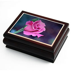 Musical Jewelry Box with Rose Tile