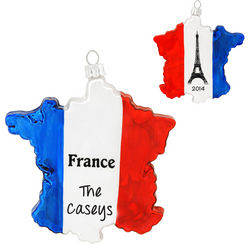Personalized France Eiffel Tower Glass Ornament