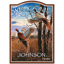 Pheasants' Flight Personalized Welcome Sign
