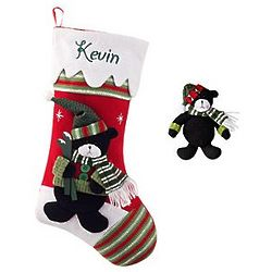 Personalized Winter Wonderland Bear Stocking and Ornament