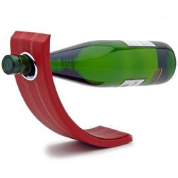 Gravity Leather Wine Bottle Holder in Red