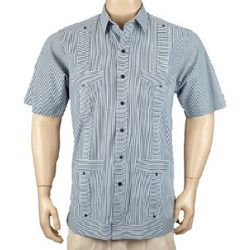 Deluxe Short Sleeve White and Black Striped Guayabera Shirt