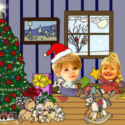 Your Photo in an Opening Christmas Gifts Caricature