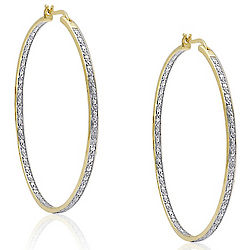 Diamond In/Out Hoop Earrings
