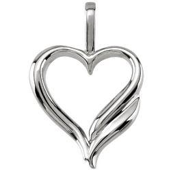 14 Karat White Gold Design Heart Pendant