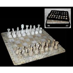 Coral Stone & White Onyx Chess Set