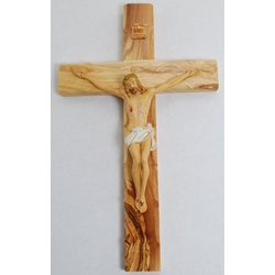 Olivewood Crucifix with Painted Corpus