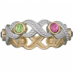 Sterling Silver Two-Tone XOXO Birthstone Mother's Ring
