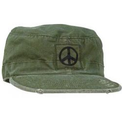 Vintage OD Ripstop Fatigue Cap with Peace Symbol