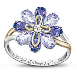 Blossom of Faith Amethyst and Diamond Ring