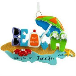 Personalized Beach Scene Ornament