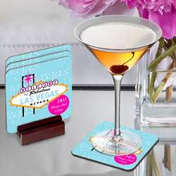 Personalized Blue and Pink Las Vegas Coasters