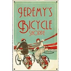 Personalized Bicycle Shoppe Metal Sign