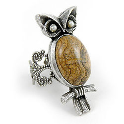 Desert Jasper Pewter Owl Ring