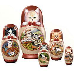 Matryoska Kitten Nesting Doll Set