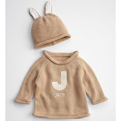 Bunny Knit Baby Sweater and Hat