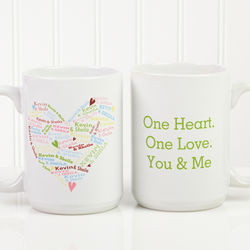 Personalized Large Heart of Love Coffee Mug
