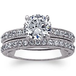Vintage-Inspired 2-Piece Cubic Zirconia Solitaire Wedding Ring