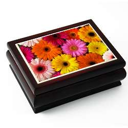 Colorful Daisies Tiled Musical Jewelry Box