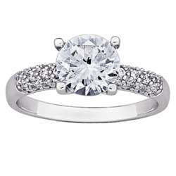 Silver Cubic Zirconia Solitaire Rounded Band Engagement Ring
