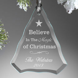 Believe in the Magic Engraved Glass Ornament