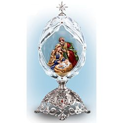 The Holy Family Nativity Crystal Musical Egg