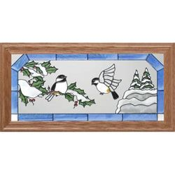 Chickadees in Winter Stained Glass