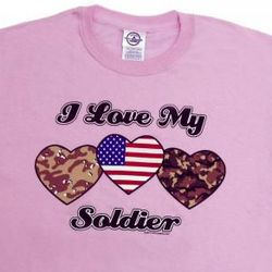 I Love My Soldier Camo Hearts T-Shirt