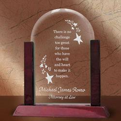Personalized Make it Happen Glass Arch Plaque