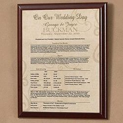 Day In History Facts Personalized Anniversary Plaque