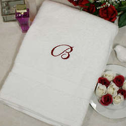 Embroidered Monogram Bath Towel