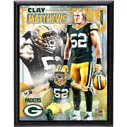 Clay Matthews Sublimated Green Bay Packers Player Plaque