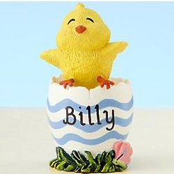 Personalized Blue Stripe Easter Egg Chick Figurine